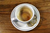 Empty Espresso With British Coins