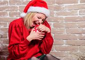 Wish List. Definitely Like It. All I Want For Christmas. Woman Excited Opening Gift From Santa Claus poster