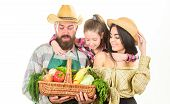 Grown With Love. Parents And Daughter Celebrate Harvest. Family Farmers Gardeners Vegetables Harvest poster