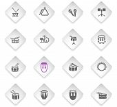 Rhythm Instruments Flat Rhombus Web Icons For User Interface Design poster