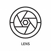 Lens Icon Isolated On White Background. Lens Icon Simple Sign. Lens Icon Trendy And Modern Symbol Fo poster