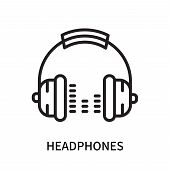 Headphones Icon Isolated On White Background. Headphones Icon Simple Sign. Headphones Icon Trendy An poster