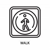 Walk Icon Isolated On White Background. Walk Icon Simple Sign. Walk Icon Trendy And Modern Symbol Fo poster