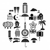 Rainy Place Icons Set. Simple Set Of 25 Rainy Place Vector Icons For Web Isolated On White Backgroun poster