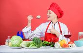 Healthy Ration. Woman Professional Chef Hold Spoon With Raw Mushroom. Dieting Concept. Girl Wear Hat poster