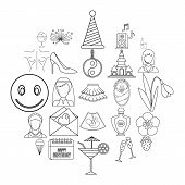 High Spirits Icons Set. Outline Set Of 25 High Spirits Icons For Web Isolated On White Background poster