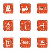 Excellent Science Icons Set. Grunge Set Of 9 Excellent Science Icons For Web Isolated On White Backg poster