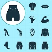 Physique Icons Set With Butt, Foot, Breast And Other Mouth Elements. Isolated  Illustration Physique poster