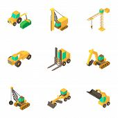 Men Machinery Icons Set. Cartoon Set Of 9 Men Machinery Icons For Web Isolated On White Background poster