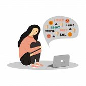 Young Girl Sitting In Front Of The Laptop On White Background. Cyber Bullying. - Vector. poster