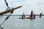 Traditional Sailing Boats (zeesenboot) In Wustrow, Fischland, Germany. A Zeesenboot (plural Zeesenbo poster