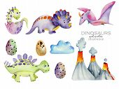 Cute Dinosaurs Collection Watercolor Illustration, Hand Painted Isolated On A White Background poster