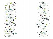 Blast Glass Shatter Memphis Vector Frame. Explosion, Triangle Flying Particles Grunge Border Design. poster