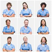 Collage of group of professional doctor nurse people over isolated background happy face smiling wit poster