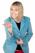 picture of spank  - Blonde woman threatening isolated on white background - JPG