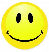 Vector smiley gele emoticon. Perfect voor pictogram, knop, badge. Mengen schaduw.
