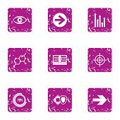 Scientific Comb Icons Set. Grunge Set Of 9 Scientific Comb Icons For Web Isolated On White Backgroun poster