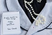 Coco Chanel Quotes Written On A Block Note, Pearl Accessories And A Classy Jacket ,inspiration Phras poster