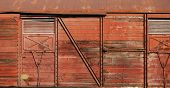 picture of covered wagon  - Old covered goods railway wagon wooden side as background - JPG