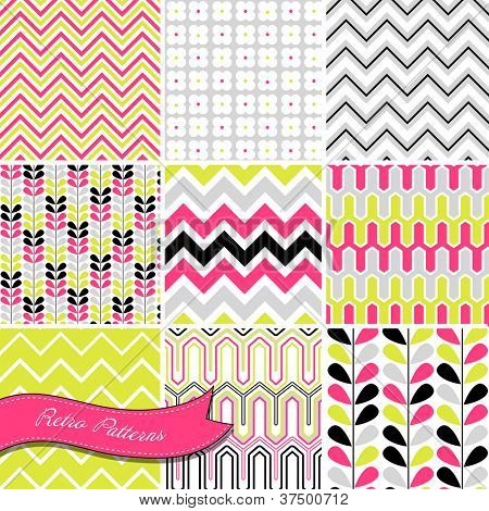 A set of seamless retro Zig zag and floral patterns