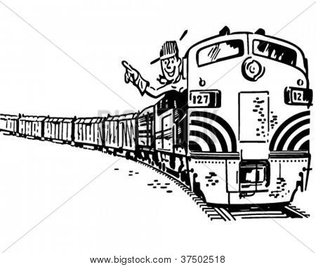 Engineer In Locomotive - Retro Clipart Illustration