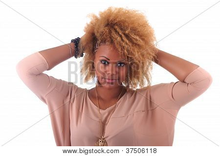 Beautiful African Woman Smiling With Long Hair Afro Curly