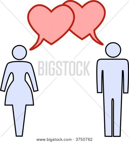 Couple Talk Love In Heart Speech Bubbles