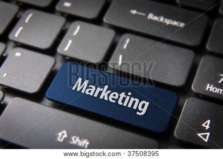 Blue Marketing Keyboard Key, Business Background