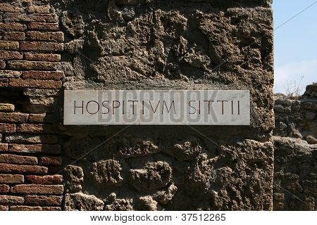 Pompeii, Italy, hospital site sign