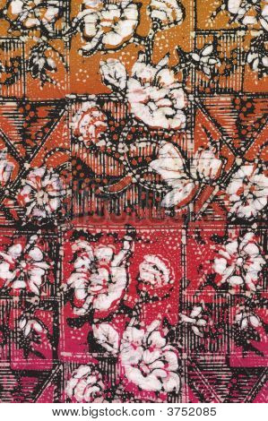 Red Batik With White Flowers
