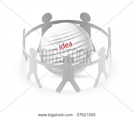Illustration of paper people around business ideas. Vector.