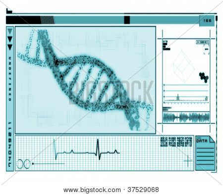DNA Helix turquoise technology in inverted colour