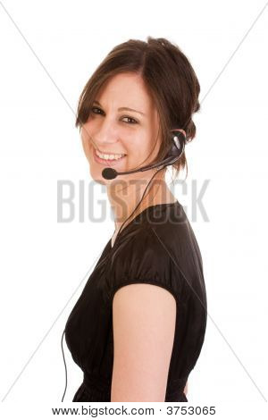 Young Brunette Woman With Headset