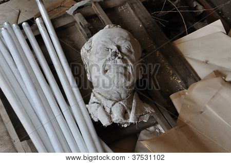 Broken Sculpture Head Of Adult Man