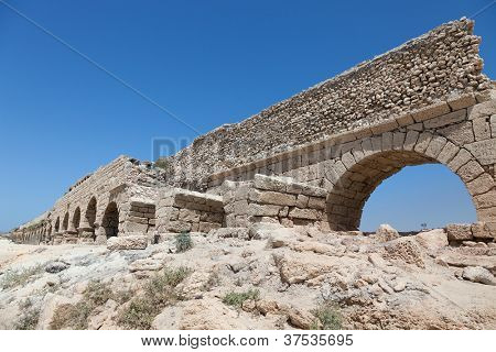 Ancient Roman aqueduct in Ceasarea