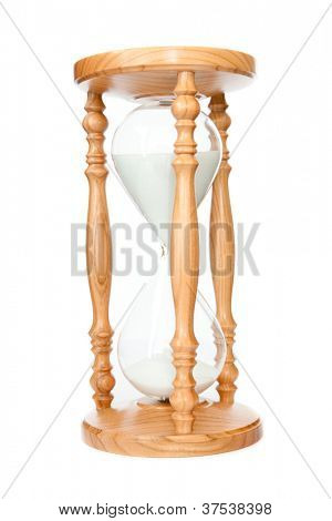 Hourglass in motion against a white background