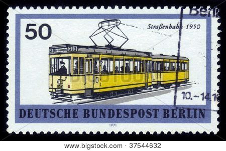 Yellow Electric Tram In Berlin