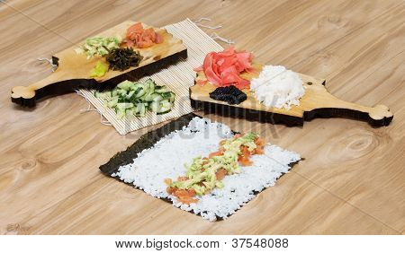 Stages Of Cooking Sushi