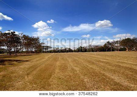 Landscape Against Blue Sky, Clouds,grassland, Mountains