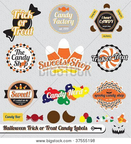 Vector Set: Vintage Halloween Candy Labels