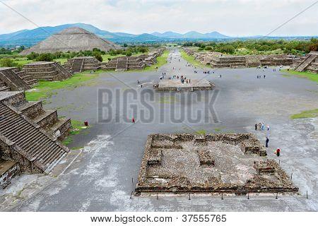 Pyramid Of The Sun And Avenue Of Dead As Viewed From Pyramid Of The Moon, Mexico
