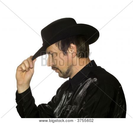 Men In Black Hat Over White