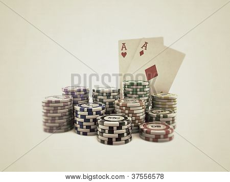 Poker Cards With Colored Chips