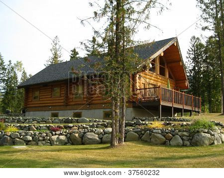 Golden log cabin with stone decor