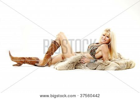 Mature Woman In Bikini Cowboy Boots