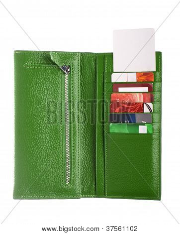Open green leather wallet