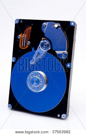Ge�ffnete Festplatte Mit Blauer Reflektion