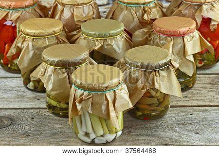 Jars With Vegetables Arranged
