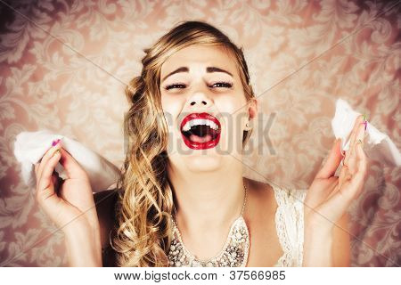 Vintage Bride Crying At The Alter With Tissues