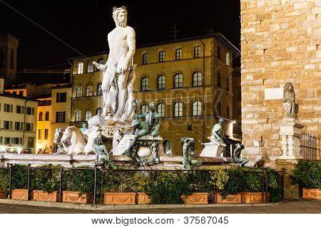 Fountain Of Neptune In Piazza Della Signoria In Florence At Night, Italy